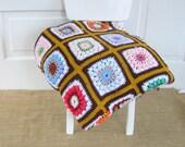 Vintage Granny Square Afghan, Vintage Afghan, Vintage Squares Blanket, Colorful Crochet Blanket
