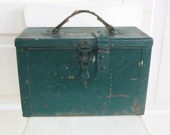 Vintage Metal Box Green Ammunition Military Industrial Primitive Storage