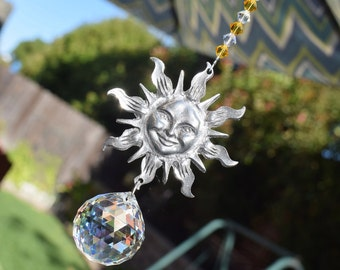 """13"""" Long Large 30mm Sunny Sun Pewter and Crystal Suncatcher for Home Decor, Window Crystal Ball Suncatcher Many Colors, Crystal AB, Blue"""