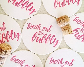 Set of eight Break Out the Bubbly letterpress coasters