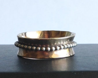 Hammered Bronze and Sterling Silver Spinner Ring - Fidget Ring - Fiddle Ring - 19th Anniversary Gift
