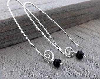Long Silver Earrings, Black Obsidian Dangle Earring, Tiny Round Drop, Eco Friendly Womens Jewelry