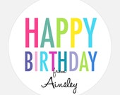 Kids Birthday Party Stickers, Personalized Happy Birthday stickers, Large, Modern, Colorful Type, 24, Rainbow stickers, gift tags, girl, boy