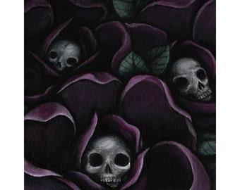 Skully Flowers - 5x5 Art Print