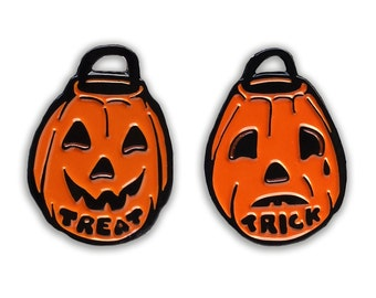 "Trick or Treat Pumpkins - 1.25"" Soft Enamel Pin Set"