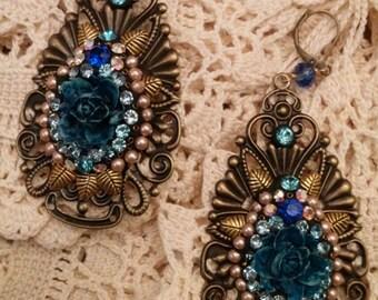 Vintage Rhinestones and Denim Cabbage  Rose Earrings