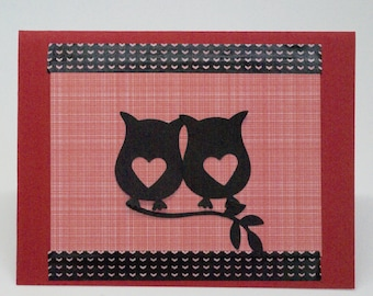 Cute Owl Card, Love You Card, Love Bird Card, Romantic Card, Anniversary Card for Him, Red Hearts Card for Her, Love Note,  Thinking of You