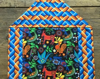 Mexican Tablecloth Table Runner Folklorico Otomi Animals Black Tribal Print Reversible