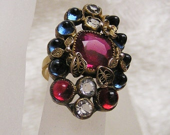 Antique 10K Ring Austro Hungarian SZ 4 1/2 Multi Stone High Cab Czech Glass Deep Blue Ruby Color Cut Glass Clear Stones Filigree Accent (D4)