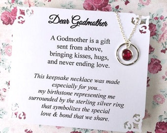 GODMOTHER Gift Birthstone Representing Godchild POEM Card STUNNING Cubic Zirconia & Sterling Silver Godmother Jewelry Godmother Necklace