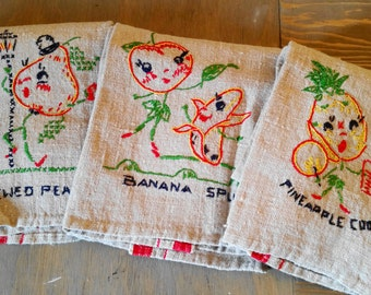 Three Vintage Natural Linen Embroidered Dishtowels with Red Stripe, Anthropomorphic Fruit Novelty Linens