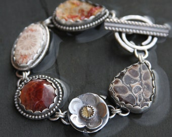 turritella agate, citrine, fire agate, fossil coral, vanadanite druzy and sterling silver metalwork link bracelet