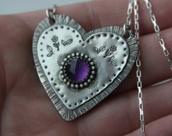 sterling silver and amethyst heart metalwork pendant necklace, valentine's