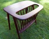 Vintage Arthur Umanoff Mid Century Designer Side Table Magazine Rack