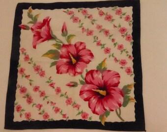 Vintage Mid Century  Floral Handkerchief with Hibiscus