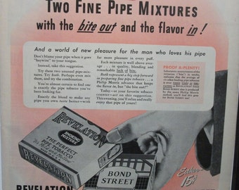 "Tob ... 135  ""Philip Morris Presents Revelation and Bond Street Pipe Tobacco""  Ad -  March 1945"
