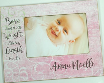 Newborn Baby Photo Frame, Birth Statistics frame, baby girl frame, personalized baby frame 4x6, 5x7