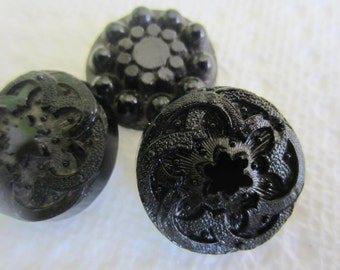 Vintage Buttons - lot of 3 large 2 matching jet black, carved flower designs, Victorian (lot oct 266 )