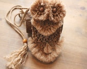 Cell Phone Bag Case Holder Small Accessory Gadget Macrame Owl Bag Made to Order  Majik Horse