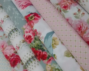 8 Fat Quarters Bundle of Anna Griffin's The Rose Collection Fabrics - 2 yards total