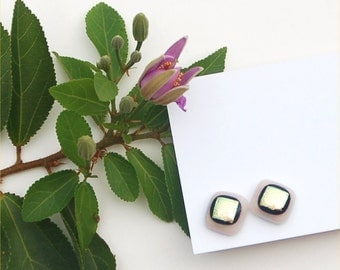 246 Fused dichroic glass earrings, square, almond with black rimmed yellow gold