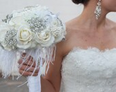 FREE SHIPPING.......Rhinestone Brooch and Great Gatsby White and Cream Bridal Bouquet Real Touch Roses Feathers