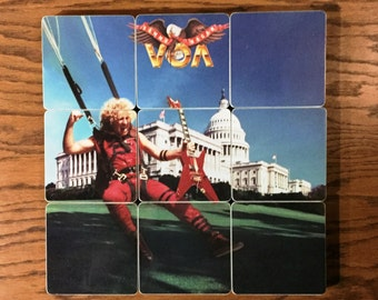 Sammy Hagar wood coasters and warped record bowl from recycled VOA music album