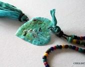 Tassel Necklace, Heart Shield, Art Jewelry, Copper Jewelry, Hand Painted, Heart Necklace, Sari Silk jewelry, FREE Shipping, Cheldena Artwear