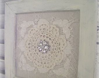 Shabby White Decor Altered Lace Art  Vintage Rhinestone Collage Wall Hanging Cottage Style  White Vintage Lace Framed Rhinestone QueenBe