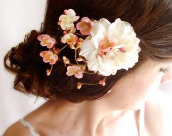 floral hair clip, peach pink hair flower, bridal hair clip, floral hair comb, bridal hair accessories, cherry blossom hair piece, wedding