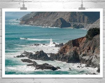 Big Sur Art, Pacific Coast Highway, Seascape Print, California Coast, Road Trip Art, Black and White Photo, Seacoast Photography, Big Waves