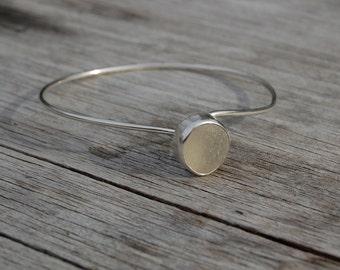 white seaglass bangle bracelet