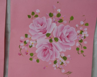 Pink Paper Gift Bag Hand Painted Pink Roses