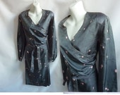 Vintage 40s Dress Size XL Teal Gray Silk Wrap Cocktail Cherry Blossoms 50s