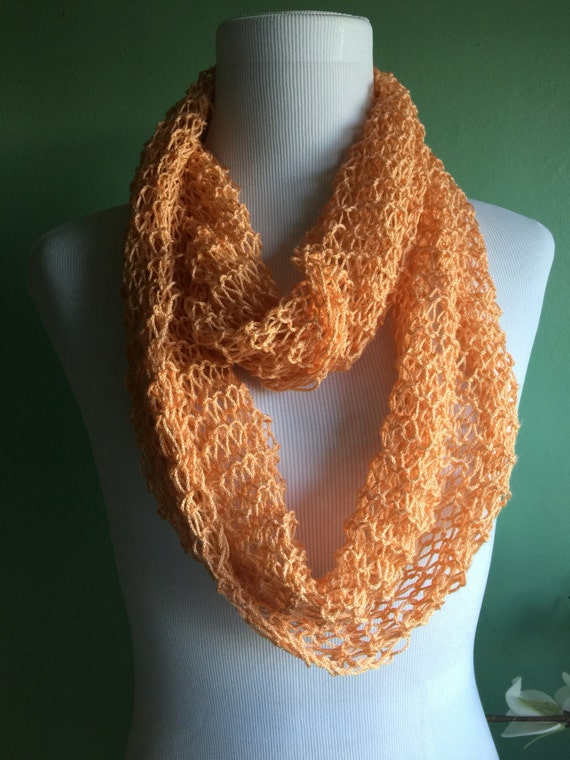 Hand Knit Infinity Scarf Wool Blend Light and Lacy Summer Scarf