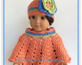 """Doll Clothes, Made To Fit American Girl Josefina, Crochet Poncho Set, 18""""Inch Doll Clothes"""