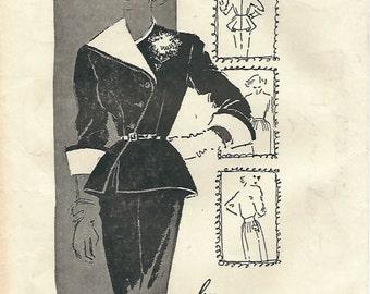 1950s American Designer 1047 Vintage Sewing Pattern Misses Suit, Asymmetrical Peplum Jacket, Pencil Skirt Size 12 Bust 30