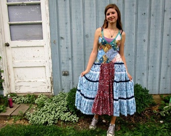 S-M Patchwork Bohemian Hippie Upcycled Tank Top Sundress// Reconstructed Summer// emmevielle