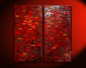 Textured Red Modern Abstract Painting Palette Knife Impasto Art 24x24