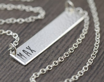 Personalized necklace bar necklace personalized bar necklace name necklace sterling silver necklace