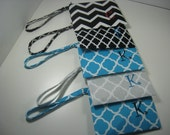 Set of 9  Personalized Wedding Gifts - Clutch- Zipper Pouch- Personalized Wristlet - Chevron - Small