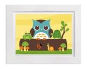 160 Owl Print - Woodland Animals Wall Art - Woodland Nursery Decor - Owl Decor - Children Animal Art - Owl Drawing - Woodland Nursery Art