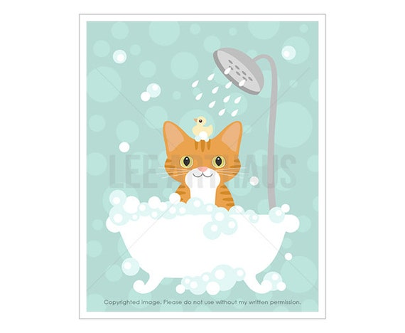 13F Cat Art - Orange Cat in Bathtub Wall Art - Ginger Tabby Cat Print - Kitten Drawing - Cat Bath Decor - Cat Lover Gift - Cat Picture