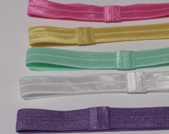 SALE - Set of 5 Satin Stretch Elastic Interchangeable headbands - newborn baby girl - fits 0-3 months -clip on bows or flower Clips