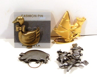 Assorted Pins - Swan and Pigs - Some Signed