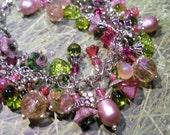 Garden Party Collecion, Pink Flower Charm bracelet