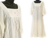 Reserved, please do not purchase - 70s Ivory with Lace Seer Sucker Cotton Maxi Dress M L