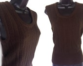 Vintage 70s Brown Acrylic Sweater Vest M