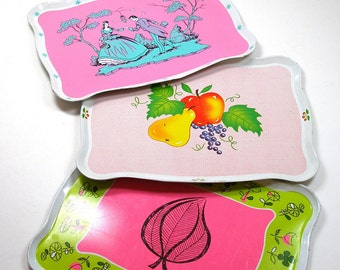 60's Tin Toy Tea Trays in pinks, by Ohio Art, Instant collection.