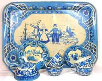 40's Tin Toy Tea Set, Dutch Blue Delph, Tea pot, cups, plates, 10 piece set made in USA by Wolverine